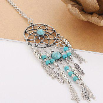 Faux Turquoise Beads Feather Sweater Chain - SILVER