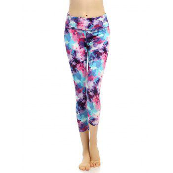 Abstract Print High Stretchy Cropped Leggings