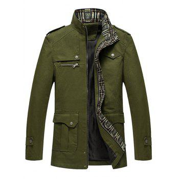 Epaulet Embellished Multi Pockets Stand Collar Jacket