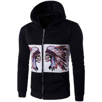 Symmetrical Chief Skull Print Zip Up Hoodie - BLACK BLACK