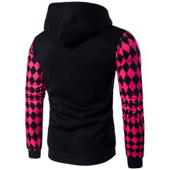 Argyle Print Zip-Up Hoodie - BLACK L