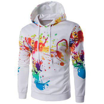 Buy Colorful Splatter Paint Print Long Sleeve Hoodie WHITE