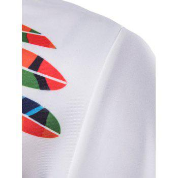 Color Block Feathers Print Long Sleeve Hoodie - WHITE WHITE