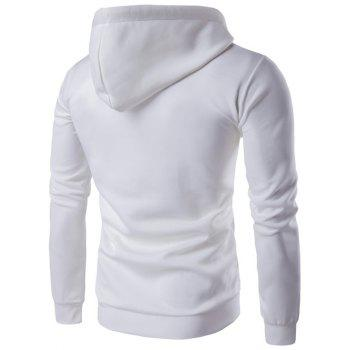 Color Block Feathers Print Long Sleeve Hoodie - WHITE M