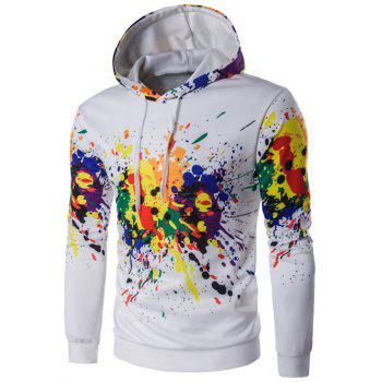 Colorful Splatter Paint Long Sleeve Hoodie - WHITE WHITE