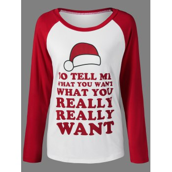 Raglan Sleeve Funny T-Shirt - RED WITH WHITE XL