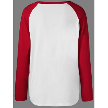 Raglan Sleeve Funny T-Shirt - RED/WHITE L