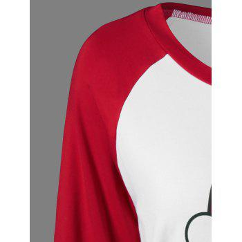 Raglan Sleeve Funny T-Shirt - RED/WHITE M