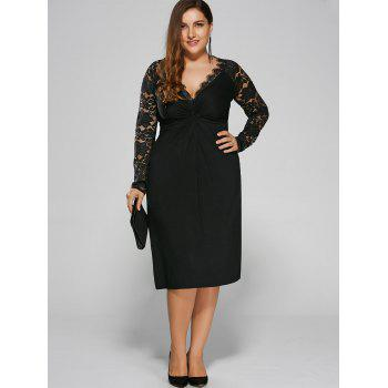Plus Size Twist Front Lace Sleeve Formal Dress