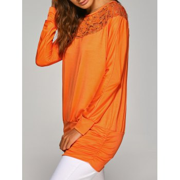 Long Sleeve Lace Insert T-Shirt - M M