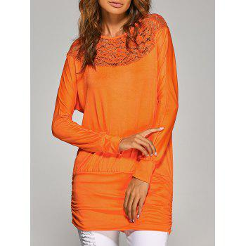 Long Sleeve Lace Insert T-Shirt - ORANGE M