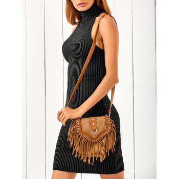 Sleeveless Turtleneck Crisscross Back Sweater Dress