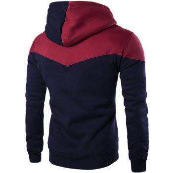 Kangaroo Pocket Contrast Color Pullover Hoodie - CADETBLUE CADETBLUE