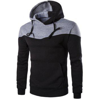 Kangaroo Pocket Contrast Color Pullover Hoodie - BLACK BLACK