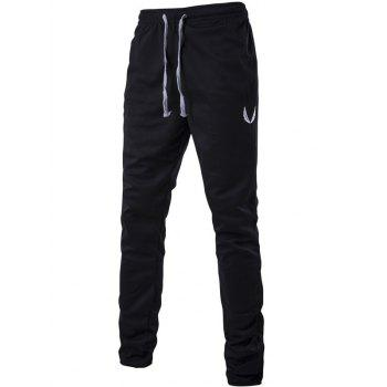 Embroidered Drawstring Zip Cuff Jogger Pants