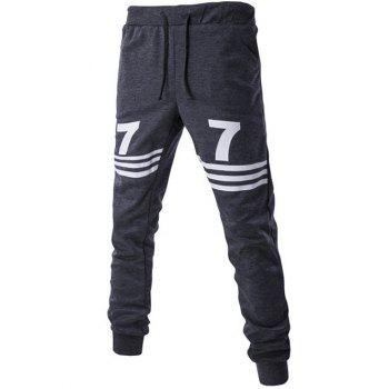 Drawstring Number Print Striped Jogger Pants