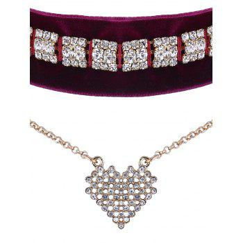 Rhinestone Velvet Heart Layered Choker -  RED VIOLET