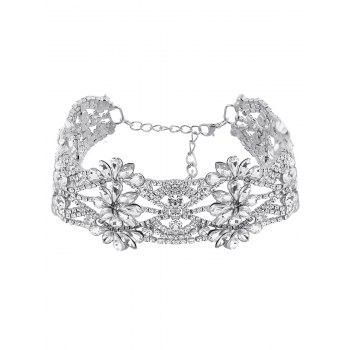 Emboss Floral Rhinestone Choker Necklace - SILVER SILVER
