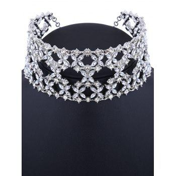 Hollowed Tiered strass large Choker - Argent