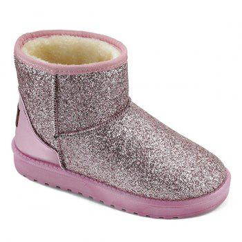 Flat Heel Splicing Sequined Cloth Snow Boots - PINK PINK