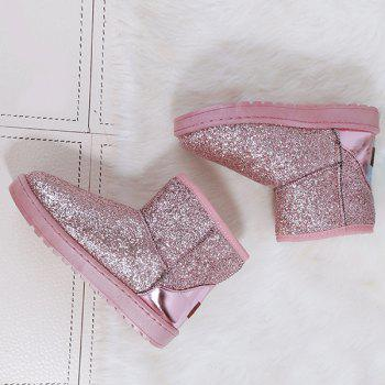 Flat Heel Splicing Sequined Cloth Snow Boots - PINK 39