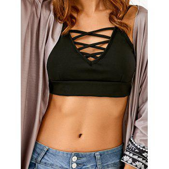 Buy Cami Lace-Up Fitted Crop Top BLACK