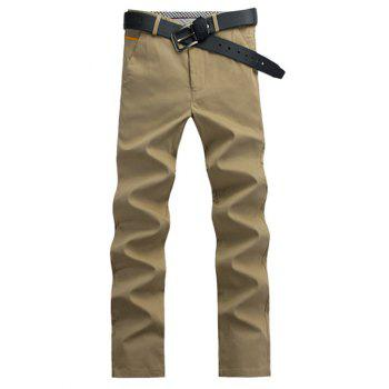 Casual Straight Leg Button Pocket Chino Pants