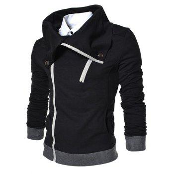 Zipper Fly Turn Down Collar Thicken Jacket