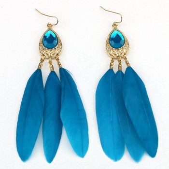 Waterdrop Faux Crystal Feather Statement Drop Earrings