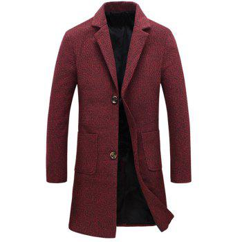 Buttoned Pocket Lapel Tweed Woolen Coat