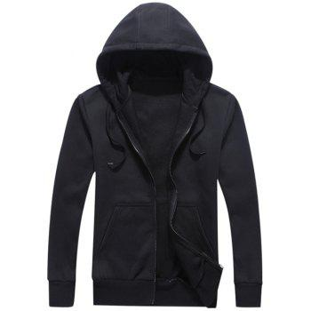 Zipper Fly Pocket Fleece Hoodie - BLACK L