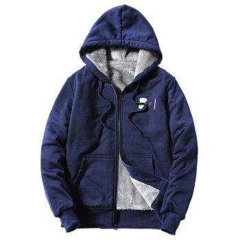 Hooded Zip-Up Coffee Cup Embroidered Fleece Hoodie - CADETBLUE CADETBLUE