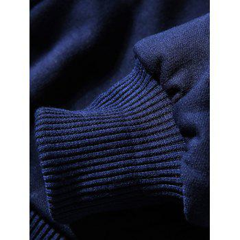 Hooded Zip-Up Coffee Cup Embroidered Fleece Hoodie - CADETBLUE M