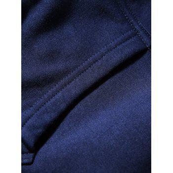 Hooded Zip-Up Coffee Cup Embroidered Fleece Hoodie - CADETBLUE S