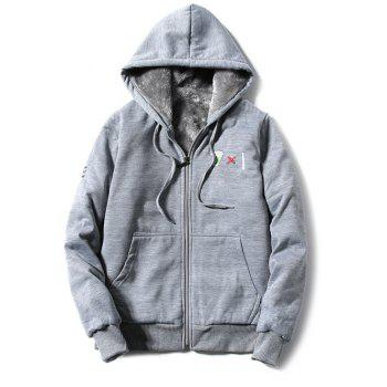 Hooded Zip-Up Coffee Cup Embroidered Fleece Hoodie - GRAY GRAY