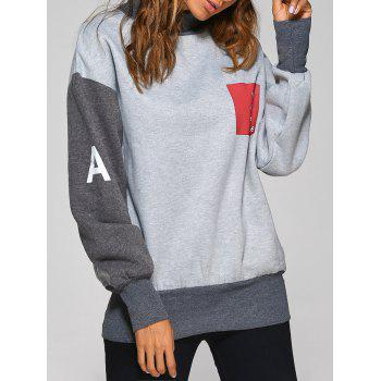 High Neck Graphic Patch Sweatshirt