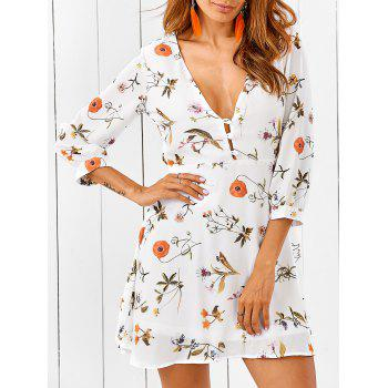Plunging Neck Back Cutout Casual Short Flowy Dress
