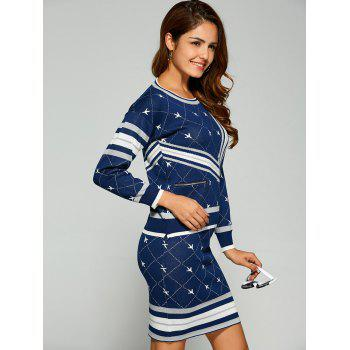Airplane Jacquard Knitted Two Piece Dress - BLUE ONE SIZE