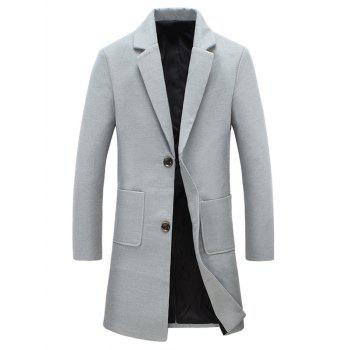 Button Pocket Lapel Woolen Coat