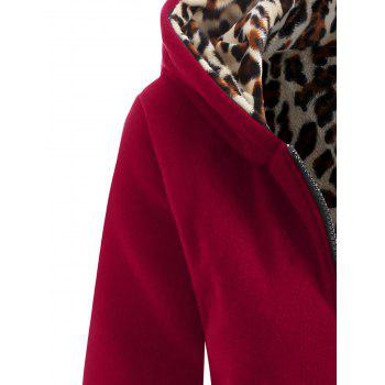 Thick Leopard Printed Inside Hoodie - WINE RED 2XL
