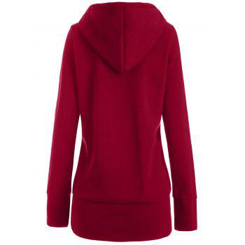 Thick Leopard Printed Inside Hoodie - WINE RED S