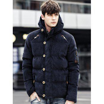 Zipper Fly Hooded Padded Suede Coat