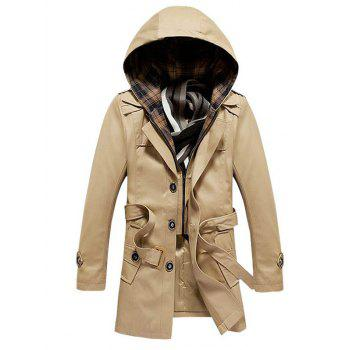 Belted Buttoned Detachable Hooded Coat