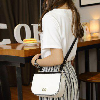 Color Block Metal Embellished PU Leather Crossbody Bag