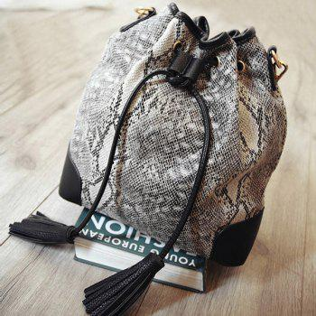 Colour Splicing Tassels Snake Print Shoulder Bag