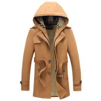 Belted Fleece Plush Detachable Hooded Woolen Coat
