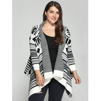 Plus Size Geometric Pattern Irregular Cardigan - COLORMIX XL