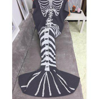 Comfortable Fish Skeleton Wrap Sofa Knitted Halloween Mermaid Blanket