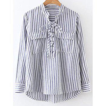 Stand Neck Striped Lace Up Front Shirt