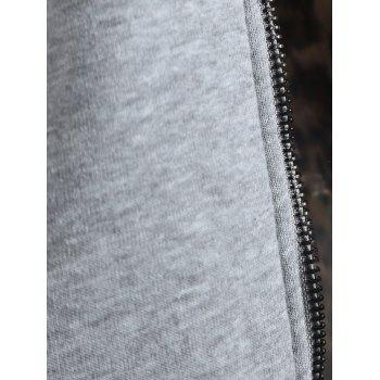 Zipper Fly Thicken Leopard Pattern Hoodie - LIGHT GRAY LIGHT GRAY